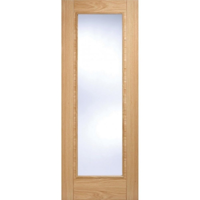 LPD Internal Oak VANCOUVER Pattern 10 Pre-Finished 1 Light Clear Glazed Fire Door FD30