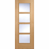 LPD Internal Oak VANCOUVER Pre-Finished 4 Light Clear Glazed Fire Door FD30
