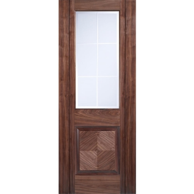 LPD Internal Walnut VALENCIA Pre-Finished 1 Light Frosted Bevelled Glazed Door