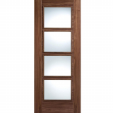 LPD Internal Walnut VANCOUVER Pre-Finished 4 Light Clear Glazed Fire Door FD30
