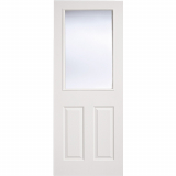 LPD Internal White Moulded Textured Vertical 1 Panelled Glazed Door