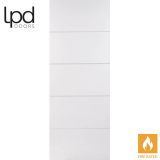 LPD Internal White Primed Horizontal Smooth 5 Panelled Fire Door