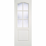 LPD Internal White Classical Primed 6 Panelled Glazed Door
