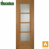 Mendes ISEO Internal Oak Pre-Finished 4 light Glazed Fire Door