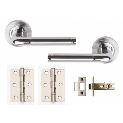 METRO COLIMA Dual Chrome Internal Door Handle Pack Lever on Rose