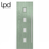 LPD External Chartwell Green Milton with White Frame Composite Glazed Door Set