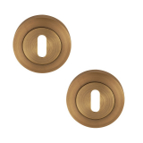 Excel Pair of Designer Flex Keyhole Door Escutcheons in Antique Brass