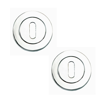 Excel Pair of Designer LINEA / AZTEC / CALLISTO Polished Chrome Keyhole Door Escutcheon