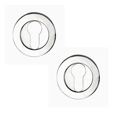 Excel Pair of Designer LINEA AZTEC Euro Profile Door Escutcheons in Polished Chrome