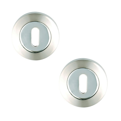 Excel Pair of Designer PHOENIX / TITON / COLIMA / PLUS Dual Chrome Keyhole Door Escutcheons