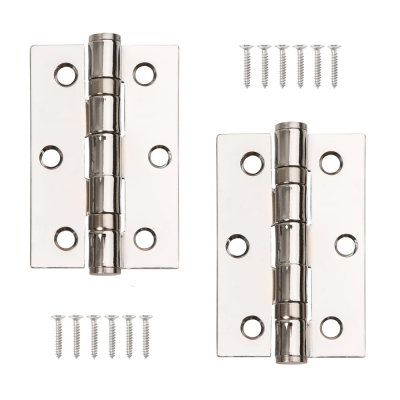 "Pair of Grade 7 Ball Bearing Butt Door Hinges Polished Chrome 3"" x 2"" (2mm Thick)"