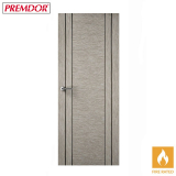 Internal LIGHT GREY Vertical Four Line Grooved Fire Door FD30