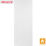Internal White Primed 1 PANEL Moulded Smooth Flush Fire Door FD30