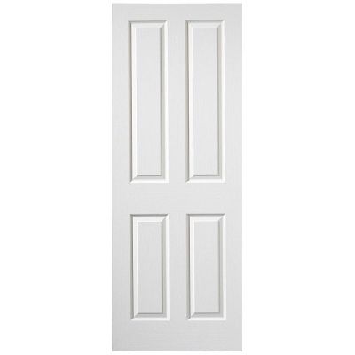 Premdor Internal White Primed 4 PANEL Moulded Textured Fire Door FD30