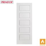 Internal White Primed 5 PANEL Moulded Smooth Fire Door FD30