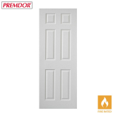 Internal White Primed 6 PANEL Moulded Textured Fire Door FD30