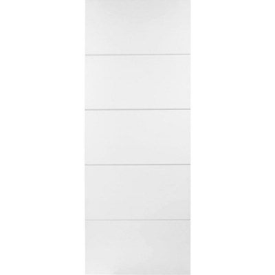 Premdor Internal White Primed HORIZONTAL 4 LINE Moulded Smooth Door