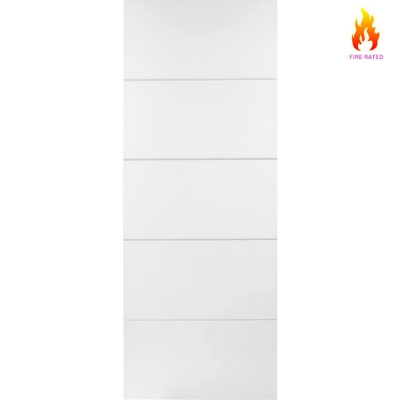 Internal White Primed HORIZONTAL 4 LINE Moulded Smooth Fire Door FD30