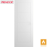 Internal White Primed LADDER Moulded Smooth Flush Fire Door FD30