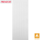 Internal White Primed VERTICAL 5 PANEL Moulded Textured Fire Door FD30