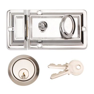 Excel Traditional Front Door Cylinder Night Latch Standard Rim Lock 90mm