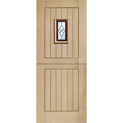 XL Joinery External Oak Chancery Triple Glazed Stable Door with Brass Caming