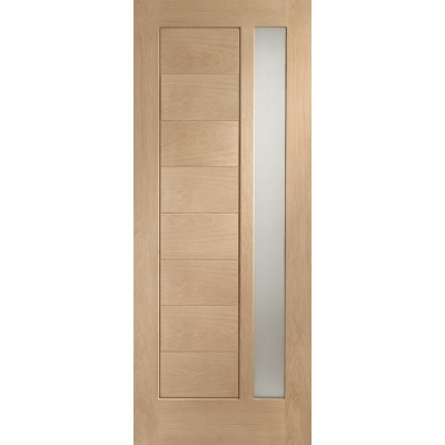 External Oak Modena Obscured Double Glazed M&T Door