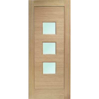 External Oak Turin Obscured Double Glazed M&T Door