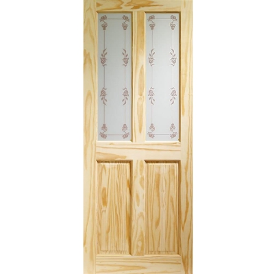XL Joinery Internal Knotty Pine Victorian Decorative Bluebell Glazed Door