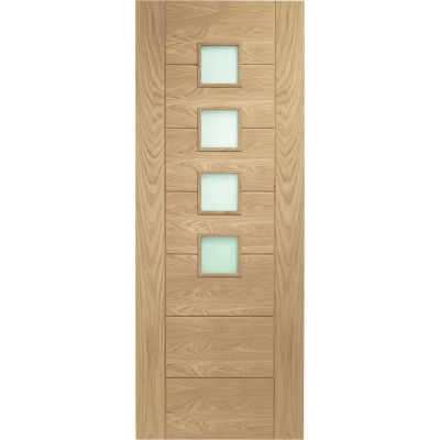 XL Joinery Internal Oak Palermo 4 Light Obscure Glazed Door