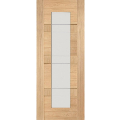 XL Joinery Internal Oak Palermo Clear Etched Glazed Door