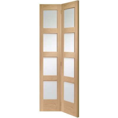 Internal Oak Shaker Bi-Fold Clear Glazed Door