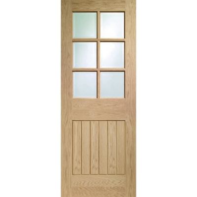 XL Joinery Internal Oak Suffolk 6 Light Clear Bevelled Glazed Door