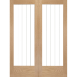 XL Joinery Internal Oak Suffolk Clear Etched Glazed Door Pair