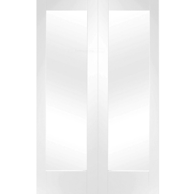 XL Joinery Internal White Primed Pattern 10 Clear Glazed Rebated Door Pair