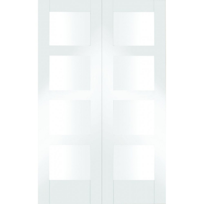 XL Joinery Internal White Primed Shaker Clear Glazed Rebated Door Pair