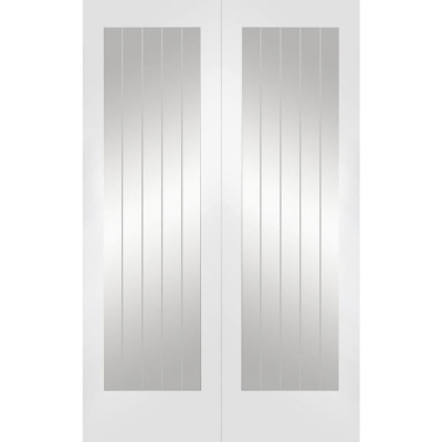 XL Joinery Internal White Primed Suffolk Clear Etched Glazed Door Pair