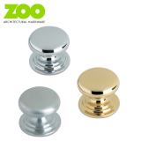 Victorian Cupboard Door Round Knob in Chrome/Brass 45mm