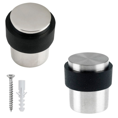 Cylinder Floor Mounted Rubber Door Stop Stainless Steel 30mm