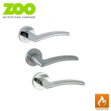 Designer Zinc AMALFI Internal Lever on Rose Fire Rated Door Handle Pair