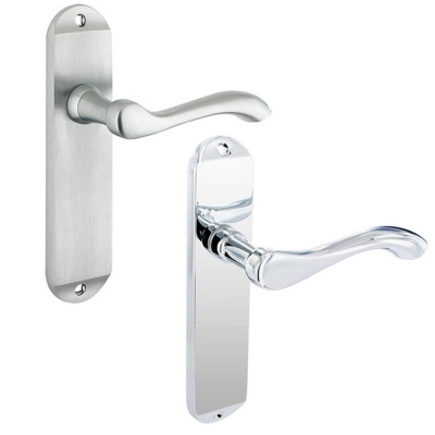 Project Europa ARUNDEL Chrome Door Handle Pair Lever on Backplate