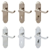 Hafele DOME CLASSIC Shaped Scroll Lever on Back Plate Door Handle Pair (Bathroom) (Satin Nickel)